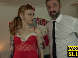 Kinky victim Azura Alii costumed for hardcore anal and facial