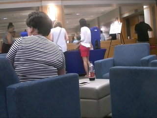 Two long legged Chinese students at orientation