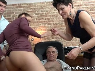 Old swinger duo has some joy with youthfull dudes attractive girlfriend