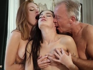 Super-steamy elderly and youthful threesome fuck-a-thon during a job interview