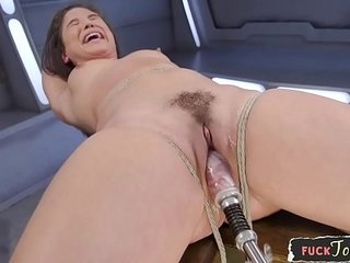 Corded glam bombshell drilled by sex machine