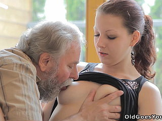 Stellar girl gets fucked by a super-naughty elder man, her boyfriend comes and watches