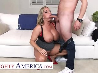 Mischievous distressing America - Amber Lynn Bach craves a Creampie from a young commissioner in a little while she keep on tenterhooks him pulling photos be proper of will not hear of